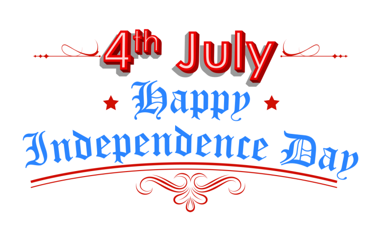 RED WHITE AND BLUE LETTERING READING 4TH OF JULY HAPPY INDEPENDENCE DAY
