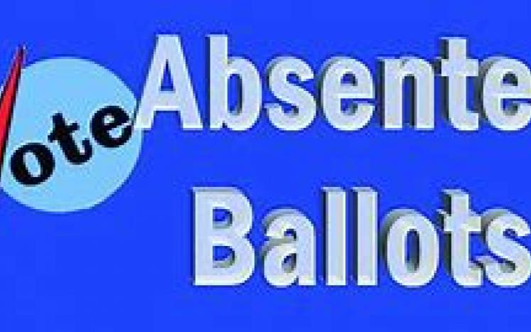 blue box with vote and Absentee Ballots inside the box