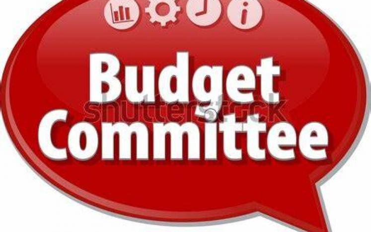 red bubble with words budget committee