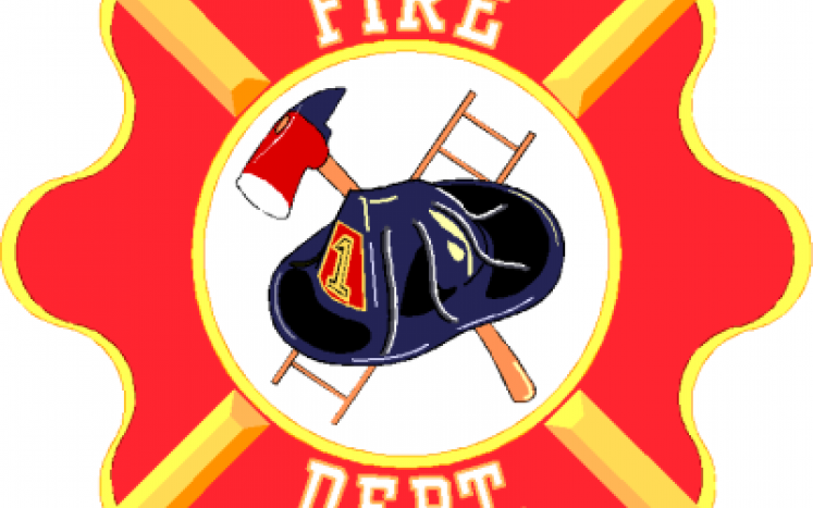 FIRE DEP with hat, ax and ladder in the middle