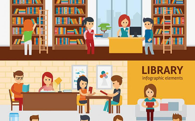 colorful picture of the inside of a library with may people looking for books and reading