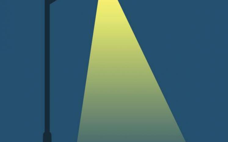 nightime with streetlight illuminated